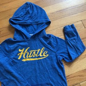 Old Navy Hustle Blue Yellow Hooded Graphic Tee